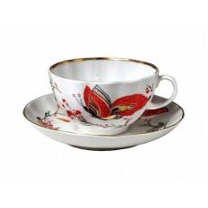 "Чашка с блюдцем чайная Тюльпан ""Бабочки"", 250 мл."