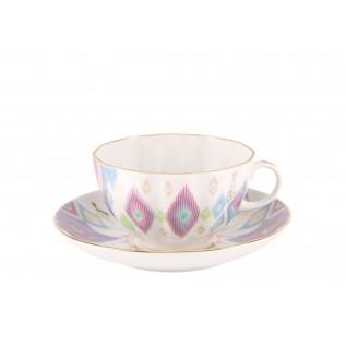 """Чашка с блюдцем чайная Тюльпан """"Перо павлина"""""""