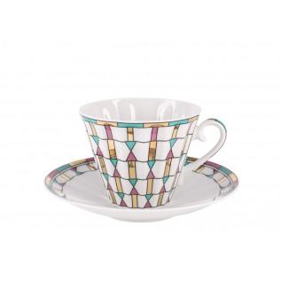 """Чашка с блюдцем чайная Лучистая """"Геометрия цвета"""""""