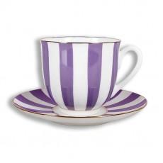 """Чашка с блюдцем Ландыш """"Да и Нет"""" (с отв. фиолетовый), 180 мл."""