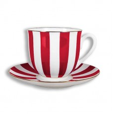 """Чашка с блюдцем Ландыш """"Да и нет""""  (красный), 180 мл."""