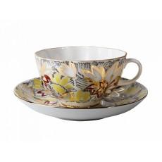Чашка с блюдцем чайная 250 мл форма Тюльпан рисунок Золотые ромашки