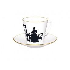 """Чашка с блюдцем Черный кофе """"Вдвоем """""""