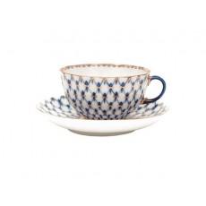 """Чашка с блюдцем чайная Тюльпан """"Кобальтовая сетка"""""""
