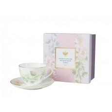 Чашка с блюдцем Весенняя - 2 Нежный пион (зеленый)