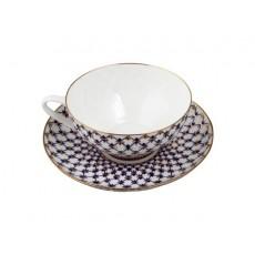 """Чашка с блюдцем чайная Купольная """"Кобальтовая сетка"""""""