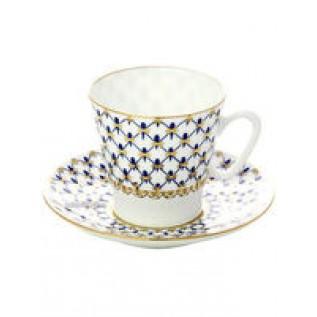 Чашка с блюдцем Черный кофе Кобальтовая сетка