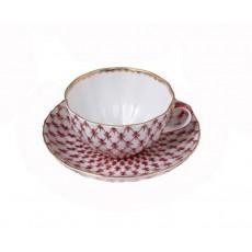 """Чашка с блюдцем чайный Тюльпан """"Сетка - Блюз"""""""