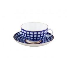 """Чашка с блюдцем чайная Тюльпан """"Кобальтовая клетка"""""""
