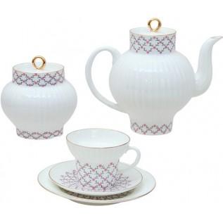 """Сервиз чайный Волна  """"Розовая сетка"""""""